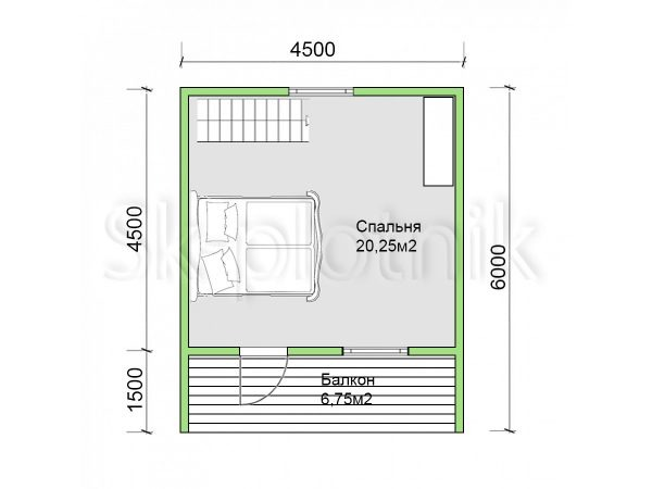 Дом из бруса 6х6 Д-83. Картинка №1