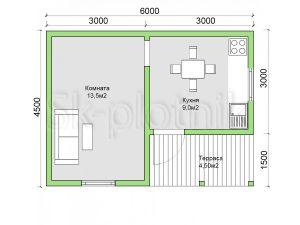 Дом из бруса 6х4,5 Д-77