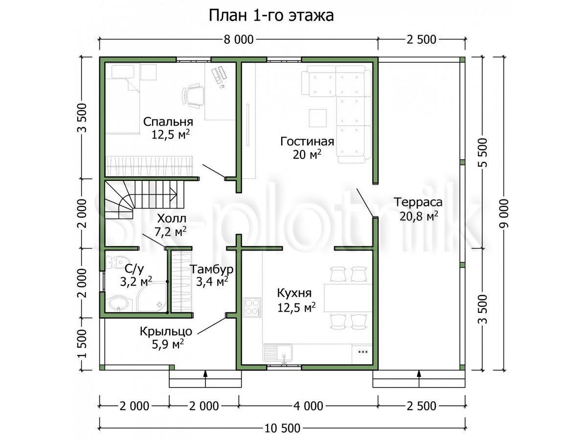 Дом из бруса 10,5х9 Д-90