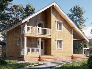 Дом из бруса 10,5х9 Д-90 - двускатная крыша