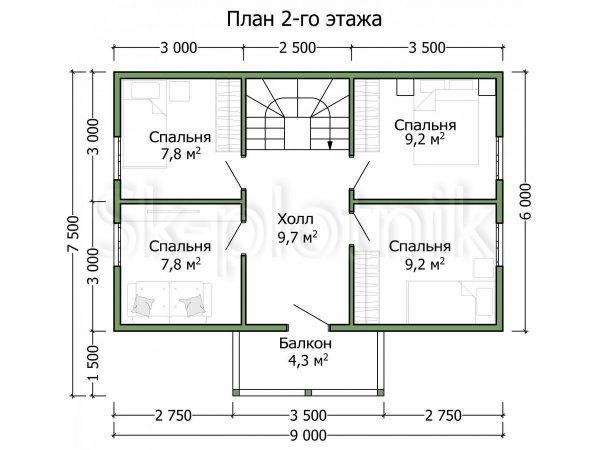 Загородный дом из бруса 6х9 Д-93. Картинка №1