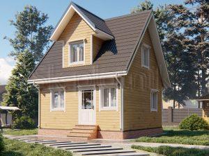 Проект дома 6х6 из бруса с крыльцом Д-104