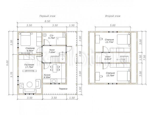 Дом из бруса 8.5х9 м Д-115. Картинка №1